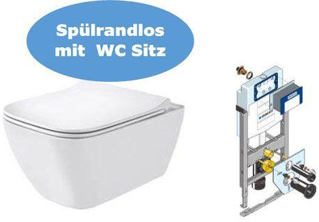 Geberit SMYLE Wand-WC, Sitz und Unterputzspülkasten Huter 1020