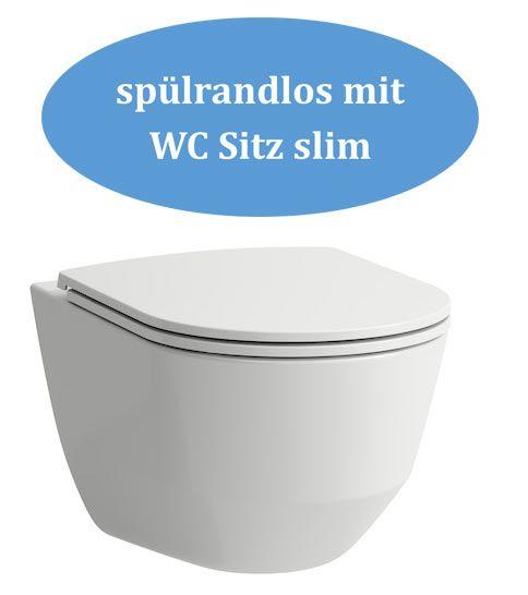 Laufen Wand WC Set Pro spülrandlos mit WC Sitz slim und Montageband