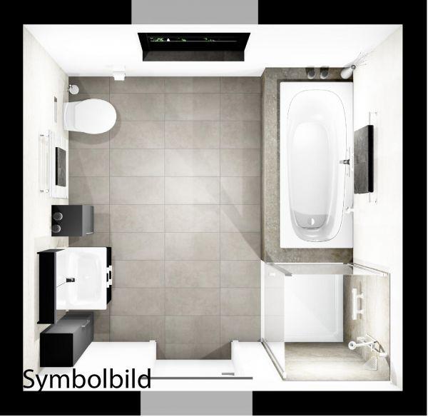 Traumbad-One Basic WT mit Möbeln, Dusche und BW , WC, Bad-HK;Option mit Montage