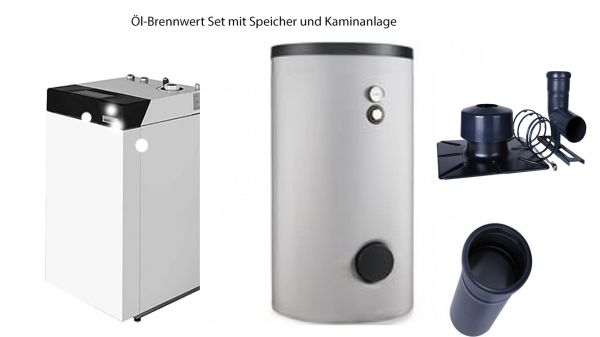 Bösch Öl-Brennwert-Set 18kW mit Warmwasserspeicher 300l und Kaminanlage 10 m