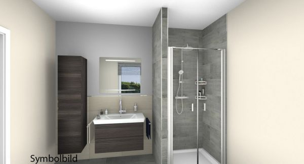 """Traumbad-Comfort Classic mit WT mit Möbeln, Duschanlage;Option mit Montage """"alles aus einer Hand"""""""